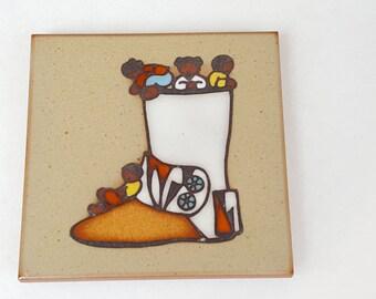 "Native American Art Tile~ Cleo Teissedre Designs~Kachina Doll Tile~4"" Kiln Fired Pottery Tile~Vintage Trivet~Southwestern Decor~Wall Hanging"