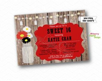 Rustic Mason Jar Floral Sweet Sixteen Invitations.  PRINTED or PRINTABLE Sweet 16 Birthday Invite. Red, Black White Invitation. Wood