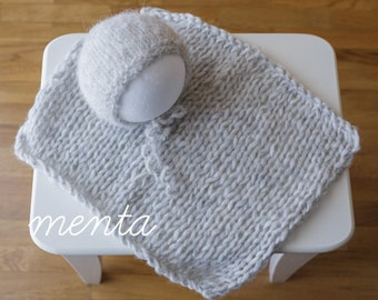 Newborn bonnet + blanket (Grey)