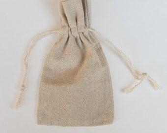 "12 - Natural Linen Pouches/Bags, 3""x4"""