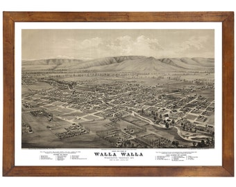 Walla Walla, WA 1876 Bird's Eye View; 24x36 Print from a Vintage Lithograph