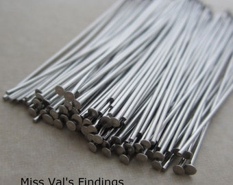 200 stainless steel headpins 2 inches 21 gauge
