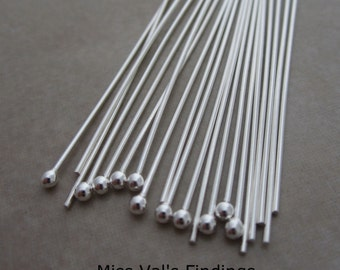 40 sterling silver headpins 2 inch 21 gauge 2mm ball