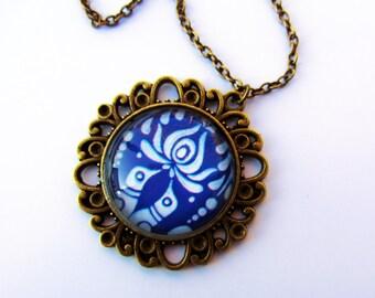 Royal blue Hungarian Matyó necklace