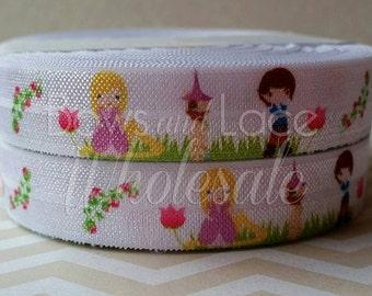 "5/8"" Fairy Tale Princess- Rapunzel Fold Over Elastic"