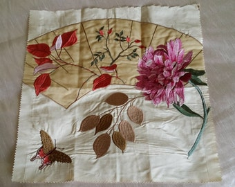 """GP & J BAKER """"Fenton"""" Embroidered Silk Fabric Sample Panel 15.75in x 15.25in Butterfly Floral Pink/Cream/Gold ~ Ideal For Cushion Craft"""