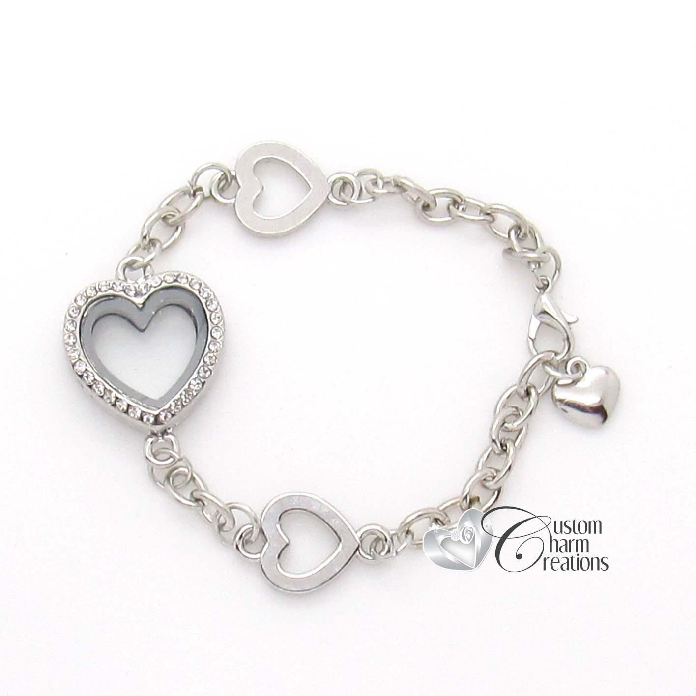 floating locket bracelet with crystals magnetic