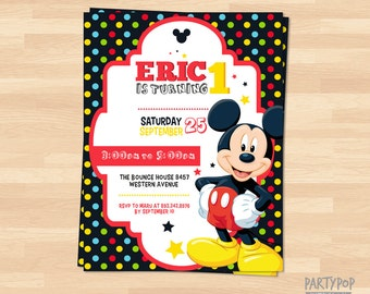 Personalized Mickey Mouse Invitation (digital file)
