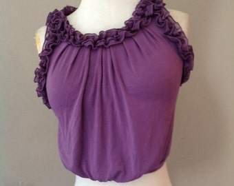 On Sale / 40% Off S / Crop Top Tank with Ruffles / Purple / Small / FREE Shipping