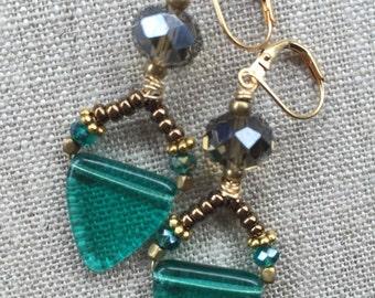 Teal Vintage glass earrings