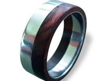 Stainless Steel Ring, King Wood Inlay, Stainless Steel Wedding Band