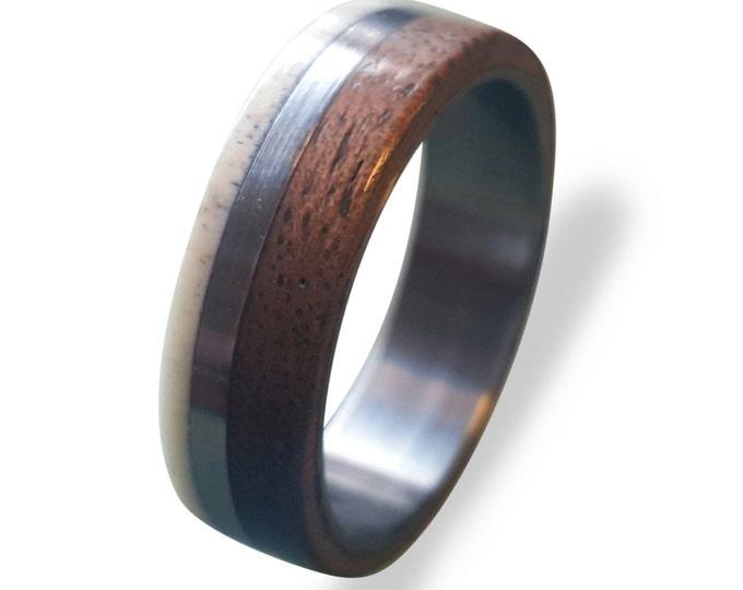 Titanium Ring, Deer Antler Ring, Antler Ring, Mens Titanium Wedding Band, Oak Wood And Antler Inlays, Wood Ring, Off-center Style