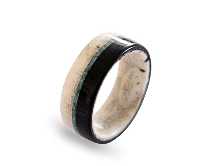 Antler men ring with ebony wood and turquoise inlays