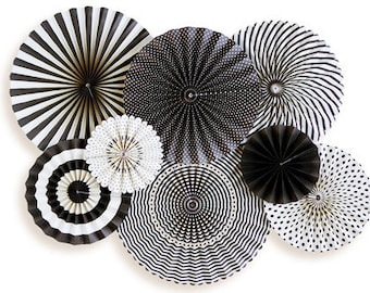 Party Fans Black and White Rosettes, Party Rosettes, Black and White Party Decor, Striped Fans, Polka Dot Fans, black stripe fans, rosettes