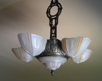 Antique Virden Art Deco slip shade chandelier from 1930's