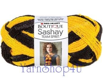 GOLD/ BLACK Team Spirit Red Heart yarn Sashay colors Ruffle lace ribbon yarn scarf knit crochet Rumba Costume Yarn fluffy scarf yarn