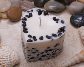 Handmade Heart Shape Scented Soy Candle With Coffee Beans D 7.5 H 5 cm