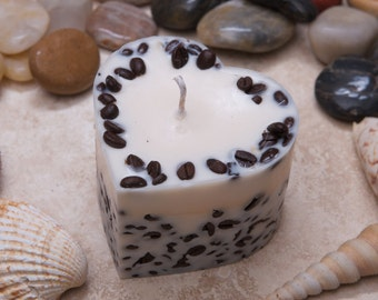Handmade Heart Shape Scented Natural Candle With Coffee Beans D 7.5 H 5 cm