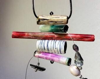 Long or short necklace, adjustable length necklace polymer clay, unique, handmade, original design