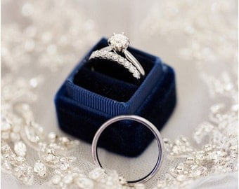 Ring Box Vintage Style Handmade in Navy Blue Vintage Velvet with Seamless Top For Weddings and Proposals , Heirlooms