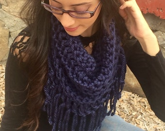 Chunky Cowl, Infinity Scarf, Crochet Cowl With Fringe, Super Soft Navy Blue Scarf, Circle Scarf, Fall Fashion, Winter Fashion, Ready To Ship
