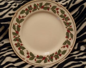 Ivory Holly Holiday Christmas Plate
