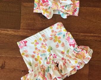 Floral ruffle shorts summer shorties