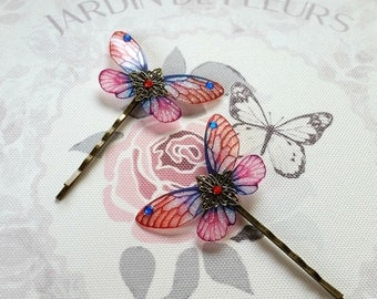 Magical Red & Blue Fairy Wing Hair Clips