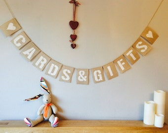 CARDS & GIFTS Vintage Wedding Bunting. Birthday Party. Hessian Burlap Rustic