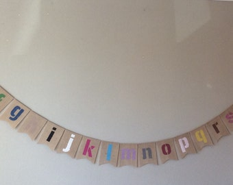 Childrens Alphabet & Colours Bunting Banner. Nursery, Playroom, Bedroom  Educational
