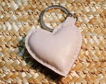 Keychain, Heart, leather heart, bag charm, leather keychain, key fob, pink, cute gift, Valentines day gift