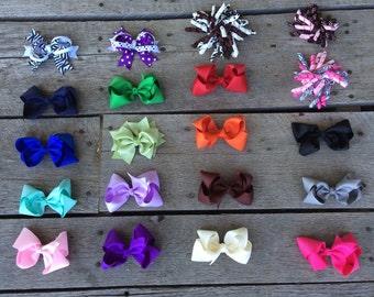 "Set of 20 pcs 4 inch hair bows, girls hair bows, hair bow, girl bows, baby bows, 4"" hair bows, infant hair bows, bows, dollar hairbows,"