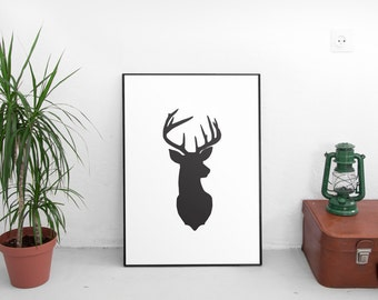 Black and white Deer head print Modern wall art Large Home decor Stag silhouette decor Woodland printable Deer Office decor