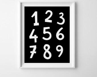 Number print, number wall decor, children room decor, downloadable print, number printable art, black and white nursery decor, nursery art