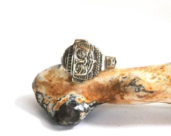 aztec ring , spoon ring, mayan ring , silver ring , spoon ring