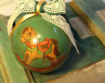 Unique Christmas tree ball, Christmas tree ornaments, plastic decoupage ball, Christmas bauble, handpainted details, riding horse