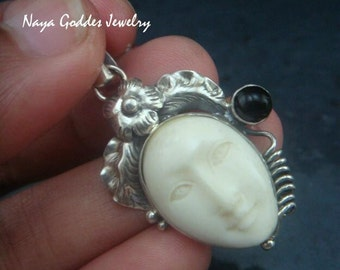 Silver and Black Onyx Goddess Pendant NG-1222