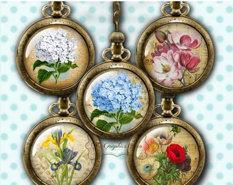80 % off SaLe Victorian Flowers Bottle Cap Images Digital Collage Sheet Round Images 1 Inch Button Circles Jewelry Making Scrapbooking Suppl