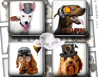 80 % off SaLe Steampunk Dogs 1x1 Inch Digital Collage Sheet Square Scrabble Tiles Images for Jewelry Making Instant Digital Download