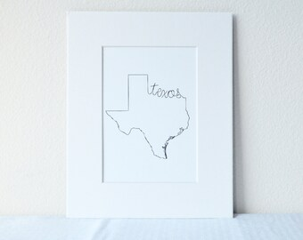 Texas Art Print State Outline, 5x7 Print in 8x10 White Mat Board