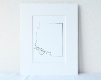 Arizona Art Print State Outline, 5x7 Print in 8x10 White Mat Board