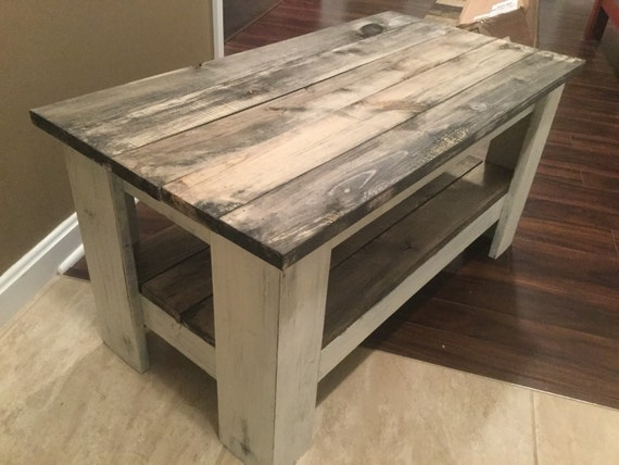 primitive distressed white with barnwood shelves solid wood