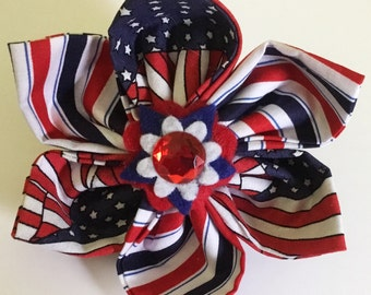 Red, White & Blue Striped Patriotic Dog and Cat Collar Flower for 4th of July