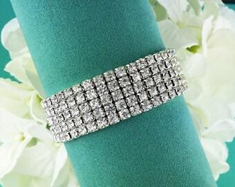 5 Row Rhinestone Bridal bracelet, wedding bracelet, rhinestone crystal bracelet, crystal bracelet, bridal jewelry, five row 210686533