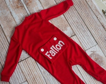 Christmas Photo Outift Little Girl's and Baby Personalized Long John Pajamas with Bottom Flap