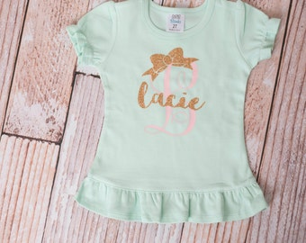 Mint Green Girls Personalized Bow and Name in Gold and Soft Pink