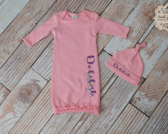 Pink Baby/Infant/Newborn Gown with Personalized Name and Matching Knot Hat Set~Includes a Zipper Along the Size