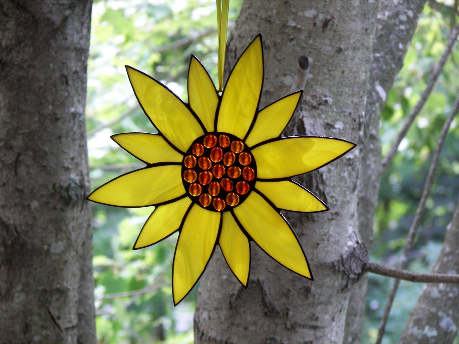 Stained Glass Flower Yellow Stained Glass Suncatcher Stained