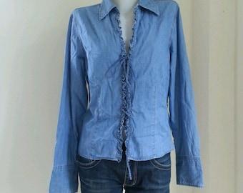 Vintage Tommy Hilfiger Blue Denim Jean Button Up Collared Shirt /size L