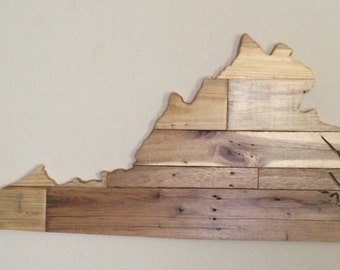 Large Reclaimed Wood Virginia Sign